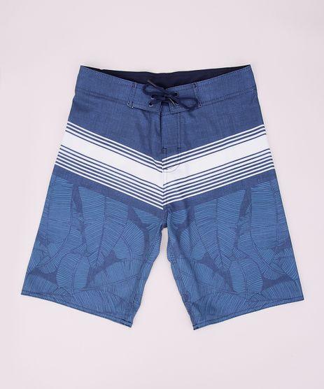 Bermuda-Surf-Juvenil-Estampada-de-Folhagens-Azul-9954485-Azul_1