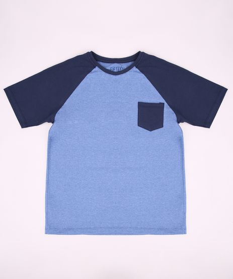 Camiseta-Juvenil-Raglan-com-Bolso-Manga-Curta-Gola-Careca-Azul-9952123-Azul_1