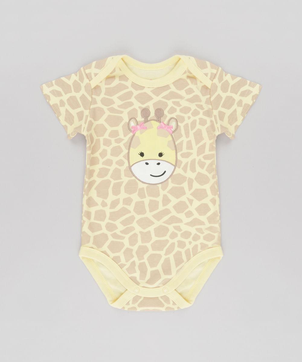 6d4ad7169c Body Estampado Girafa em Algodão + Sustentável Amarelo Claro - cea