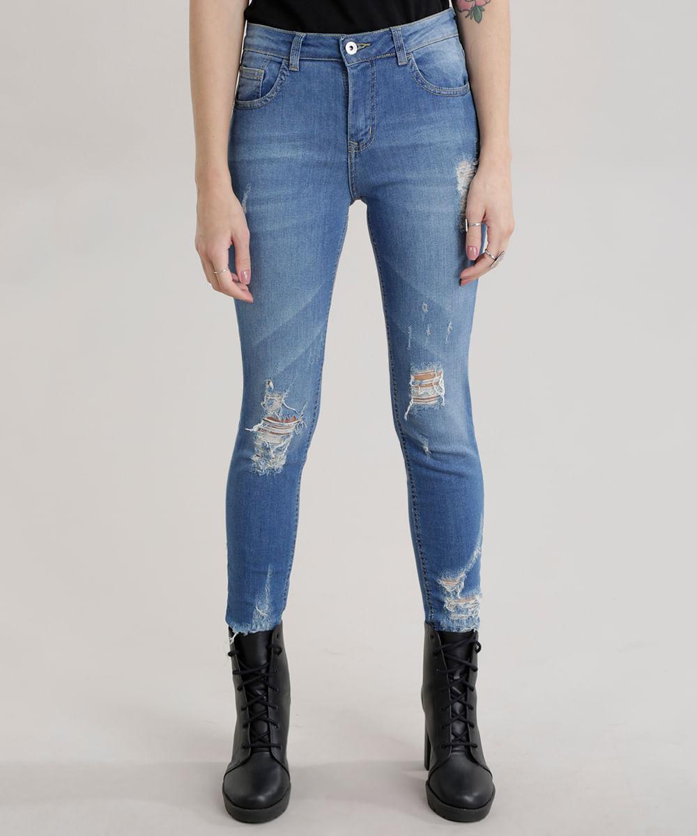 Calça Jeans Super Skinny Destroyed em Algodão + Sustentável Azul ... 719ff37049b