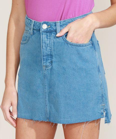 Saia-Jeans-Feminina-Ciclos-Curta-com-Bolsos-com-Certificacao-C2C™-Azul-Claro-9956798-Azul_Claro_1
