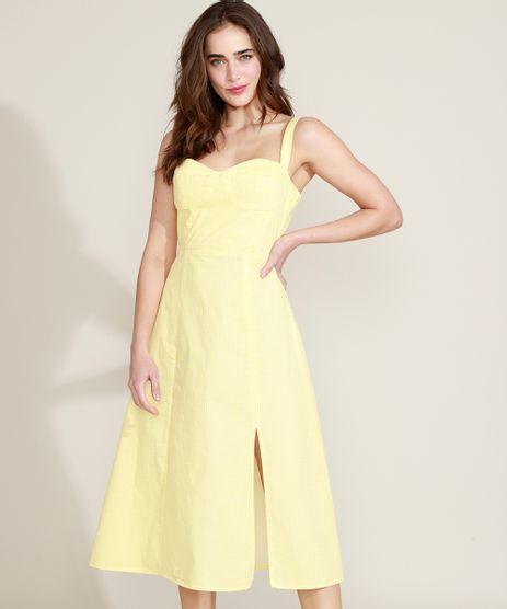 Vestido-Feminino-Mindset-Midi-Estampado-Xadrez-Vichy-com-Fenda-Alca-Media-Amarelo-9970607-Amarelo_1