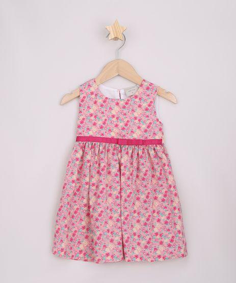 Vestido-Infantil-Estampado-Floral-com-Laco-Sem-Manga-Rosa-9963353-Rosa_1