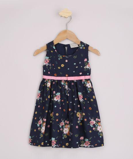 Vestido-Infantil-Estampado-Floral-com-Laco-Sem-Manga-Azul-Marinho-9963355-Azul_Marinho_1