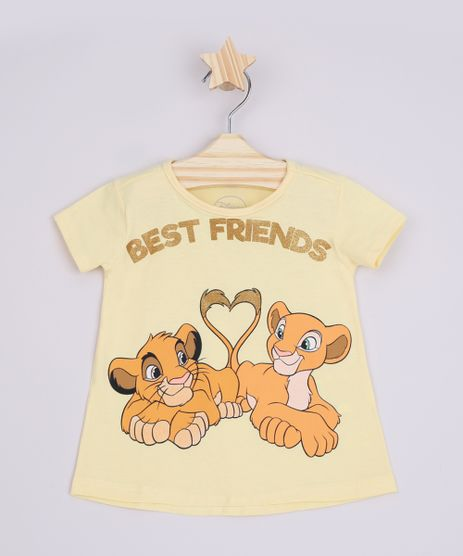 Blusa-Infantil-Ampla-Simba-e-Nala-O-Rei-Leao--Best-Friends--Manga-Curta-Amarelo-9969035-Amarelo_1