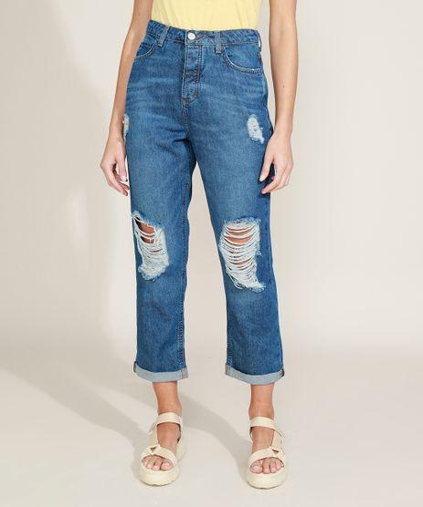 Calca-Jeans-Feminina-Ciclos-Mom-Cintura-Super-Alta-Destroyed-Certificacao-C2C™-Azul-Escuro-9956800-Azul_Escuro_1