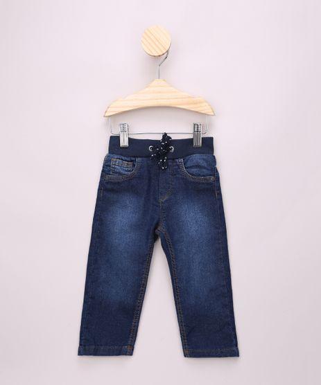 Calca-Jeans-de-Moletom-Infantil-com-Cordao-Azul-Escuro-9968307-Azul_Escuro_1