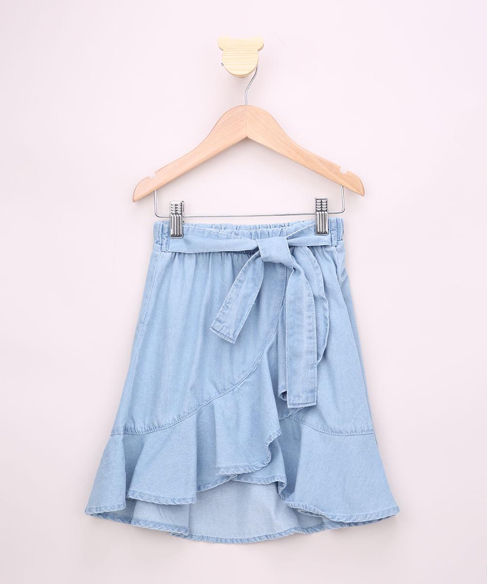 Saia Jeans Infantil Midi Transpassada com Babado e Faixa para Amarrar Azul Claro