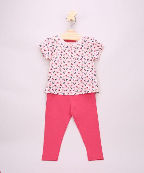 Conjunto-Infantil-de-Blusa-Estampada-Floral-Manga-Curta-Rosa-Claro---Calca-Legging-Rosa-Escuro-9951589-Rosa_Escuro_1