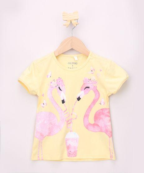 Blusa-Infantil-Flamingos-com-Glitter-Manga-Curta-Amarela-9965733-Amarelo_1