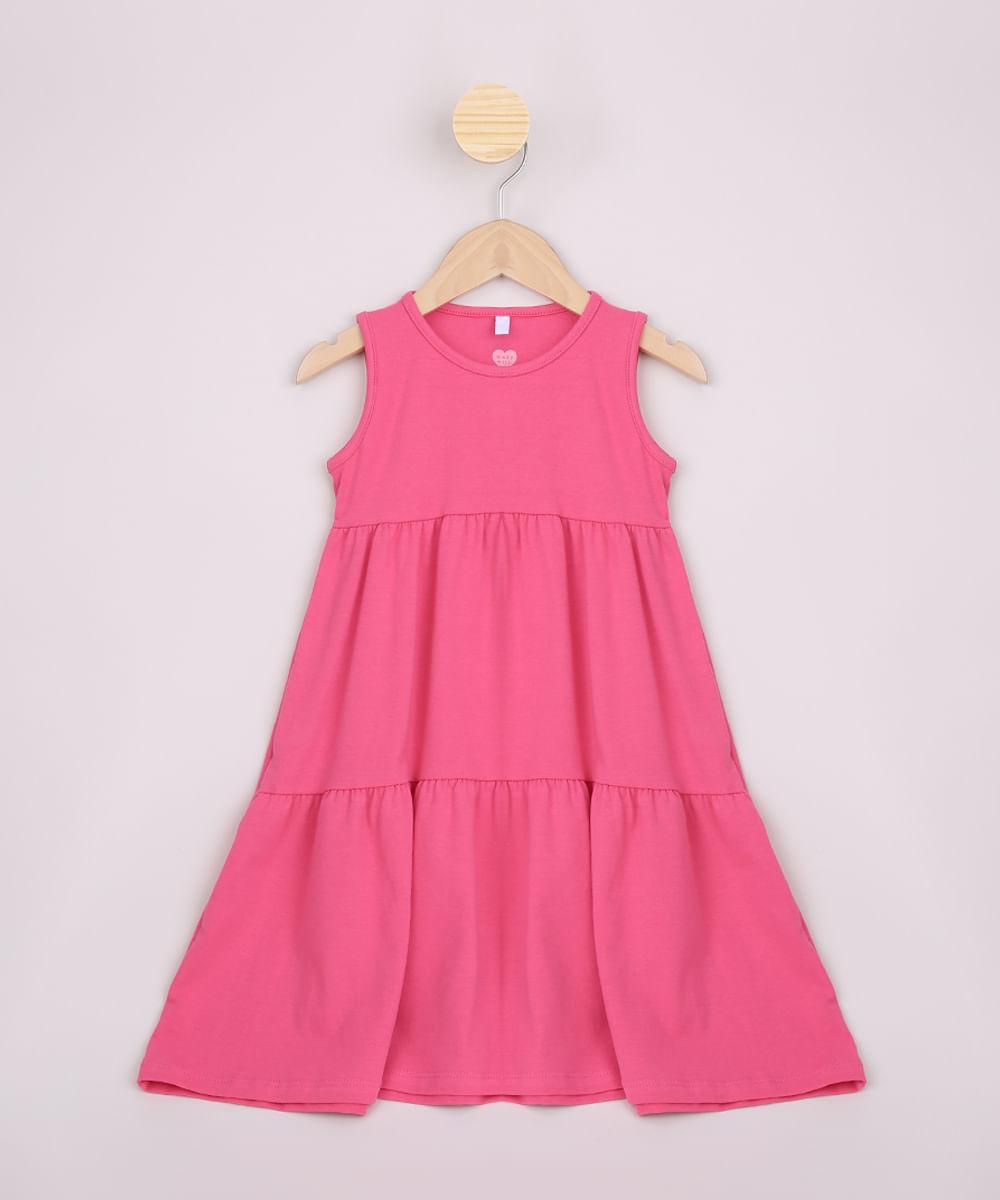 Vestido infantil Recorte e Babado Alças Médias Pink