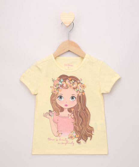 Blusa-Infantil-Menina-com-Flores-e-Glitter-Manga-Curta-Amarela-9968353-Amarelo_1