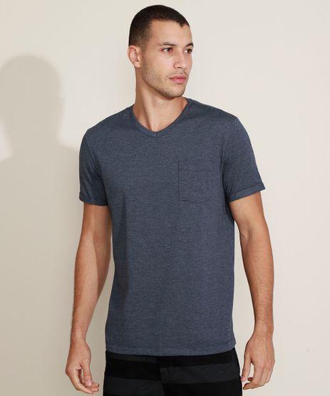 Camiseta-Masculina-Basica-com-Bolso-Gola-Careca-Gola-V-Azul-Escuro-9964946-Azul_Escuro_1