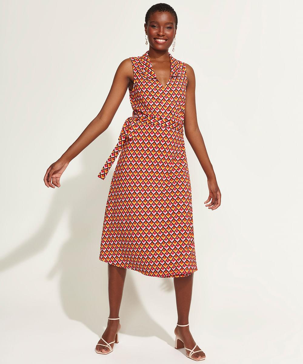 Vestido Feminino DVF Midi Envelope Estampado Geométrico Sem Manga Multicor