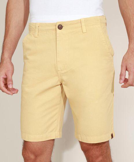 Bermuda-de-Sarja-Masculina-Chino-Reta-com-Bolsos-Amarela-9970245-Amarelo_1