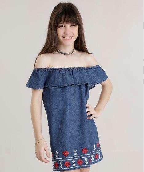 14dead5d76 Vestido Jeans Ombro a Ombro com Bordado Azul Escuro - cea