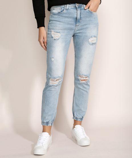 Calca-Jeans-Feminina-Jogger-Skinny-Destroyed-Cintura-Media-Azul-Claro-9964633-Azul_Claro_1