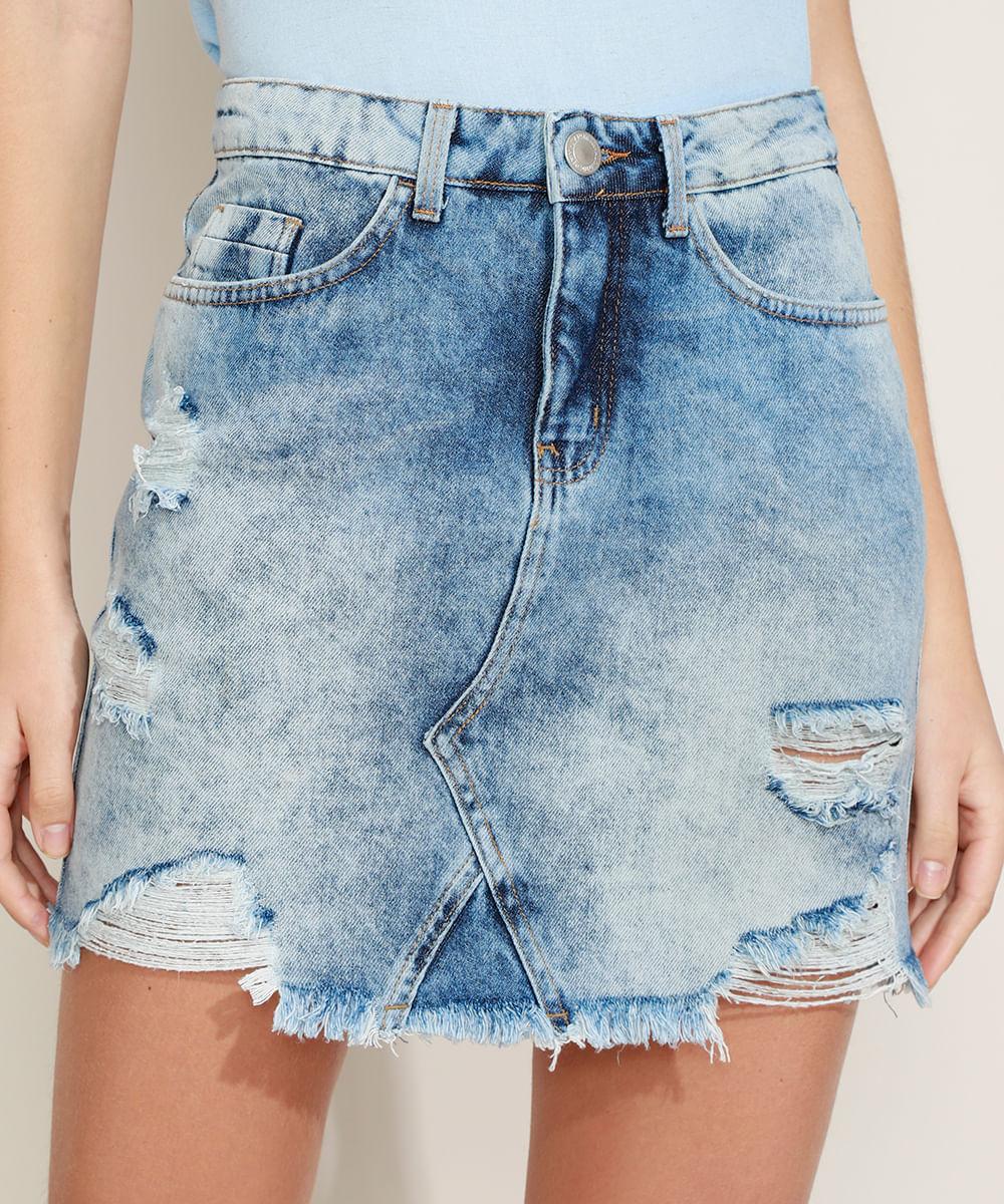 Saia Jeans Feminina Curta Com Bolsos e Bandana Destroyed Azul Médio