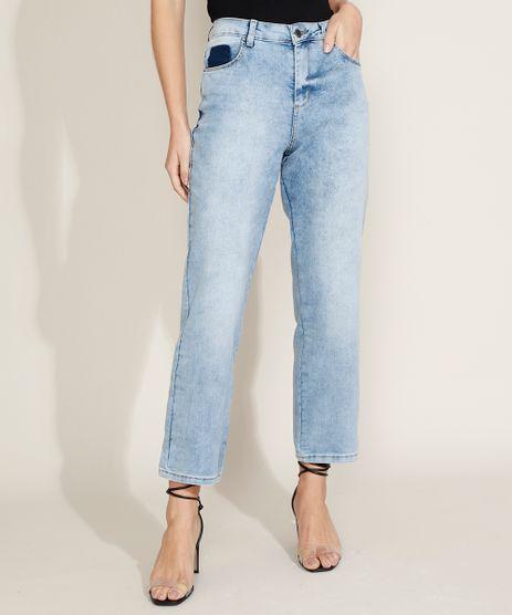 Calca-Jeans-Feminina-Sawary-Reta-Cintura-Alta-Azul-Claro-9969417-Azul_Claro_1