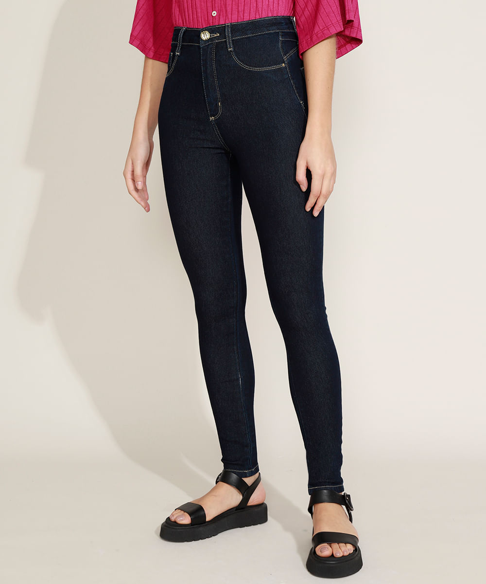 Calça Jeans Feminina Sawary Super Skinny Heart Super Lipo Cintura Alta Destroyed Azul Escuro