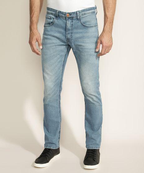 Calca-Jeans-Masculina-Reta-com-Puidos-e-Bolsos-Azul-Claro-9877890-Azul_Claro_1