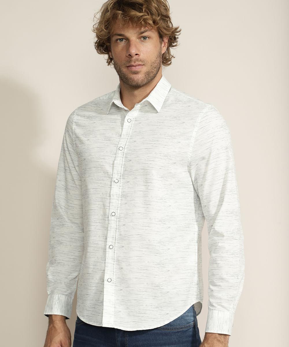 Camisa Masculina Confort Estampada Manga Longa Branca