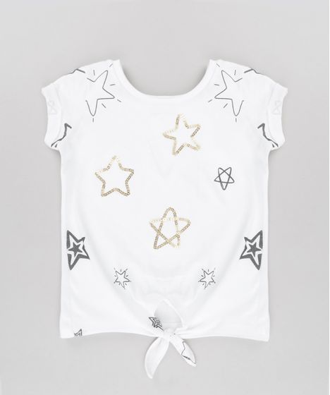 a1c7857ccf Blusa com Bordado de Estrelas em Paetês Off White - cea