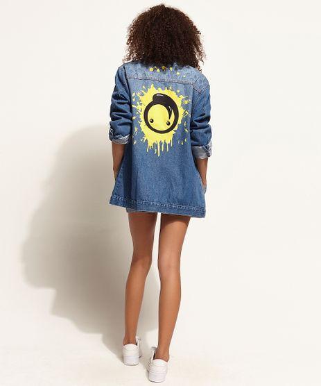 Jaqueta-Jeans-Unissex-Oversized-com-Estampa-de-Grafite-e-Button-Azul-Medio-9973109-Azul_Medio_1