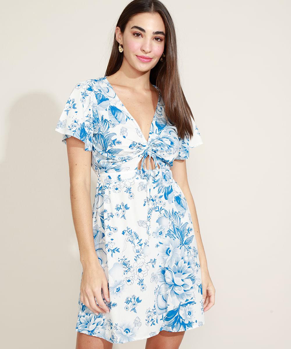 Vestido Feminino Curto Estampado Floral com Vazado e Cordão Manga Curta Decote V Off White