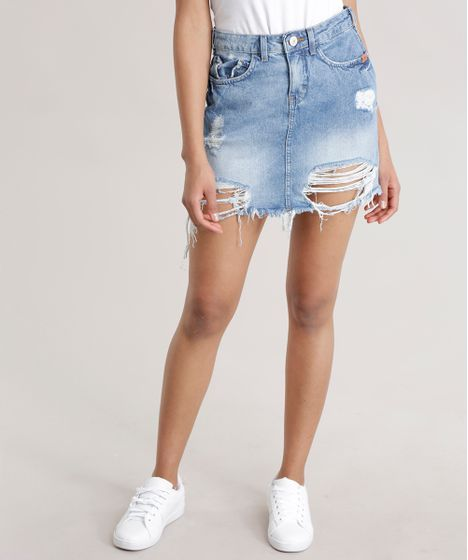 775c1fb446 Saia jeans Vintage Destroyed em Algodão + Sustentável Azul Claro - cea