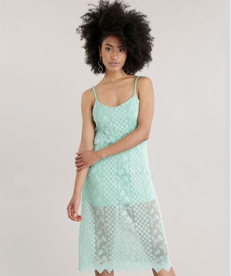 Vestido de renda midi verde