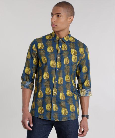 e538f4afb8ce4 Camisa-Estampada-de-Abacaxis-Azul-Marinho-8711025-Azul Marinho 1