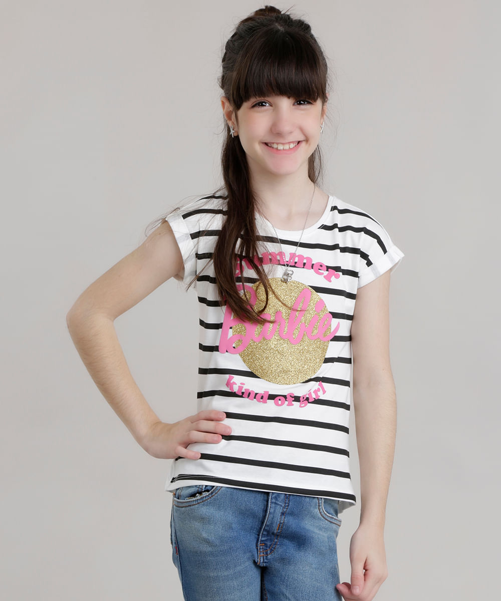580222daa5 Blusa Mullet Barbie com Glitter Off White - ceacollections