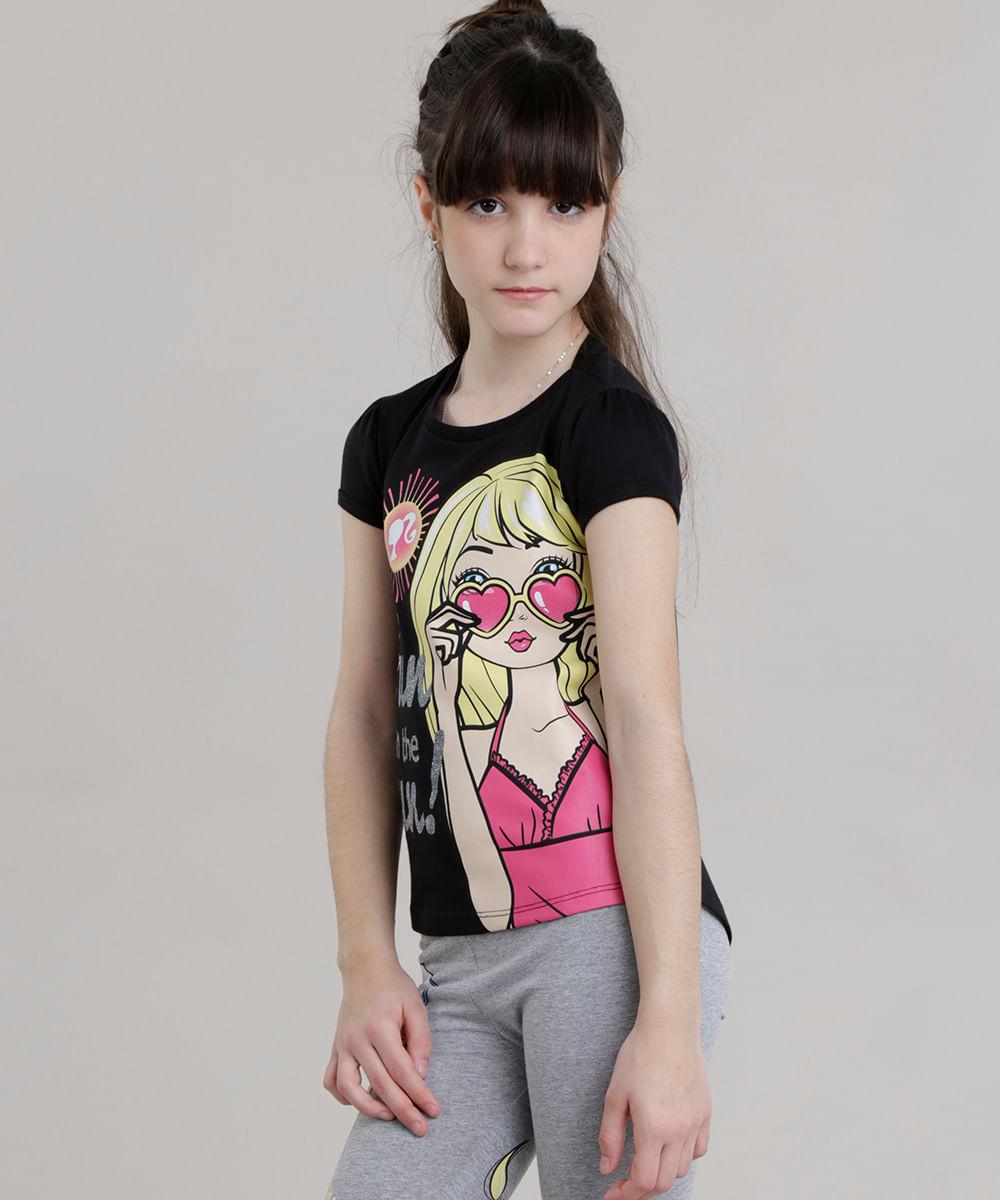 fde93aef97 ... Blusa-Mullet-Barbie-com-Glitter-Preta-8723377-Preto 1