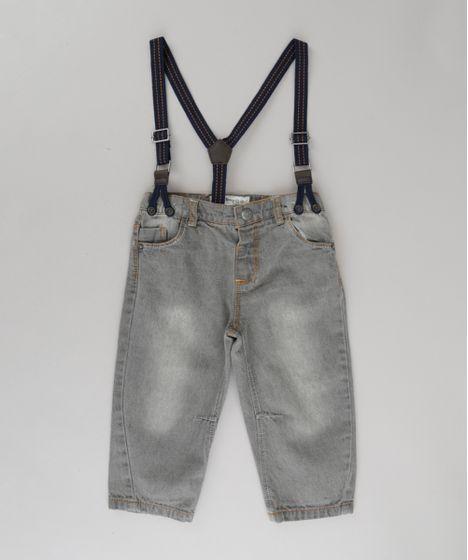 Calça Jeans com Suspensório Cinza - cea f7fabc4d487