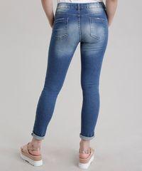 Calça Jeans Skinny Destroyed em Algodão + Sustentável Azul Médio ... 4b57632b0af