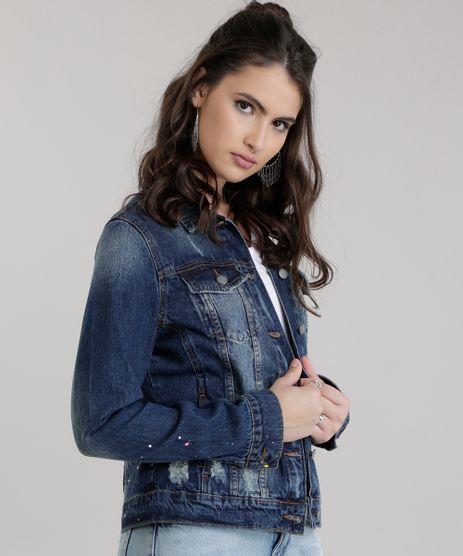 Jaqueta-Jeans-Destroyed-com-Respingos-Azul-Escuro-8728971-Azul_Escuro_1