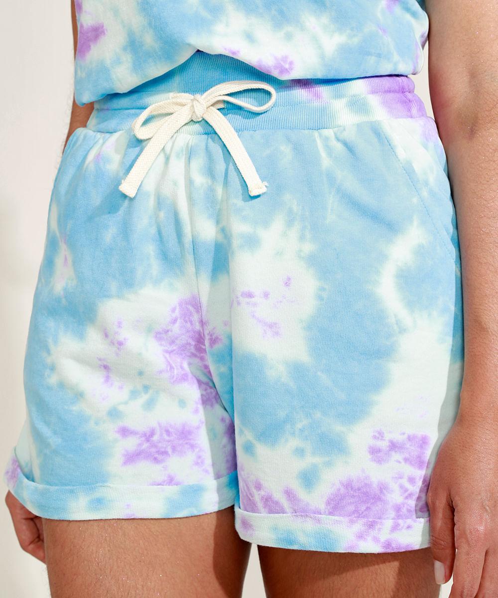 Short de Moletom Feminino Mindset Cintura Alta Estampado Tie Dye com Bolsos Azul Claro