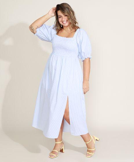 Vestido-Feminino-Plus-Size-Mindset-Midi-Listrado-com-Lastex-e-Fenda-Manga-Bufante-Azul-9972968-Azul_1