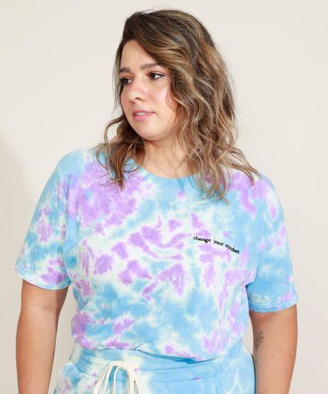 T-Shirt-Feminina-Plus-Size-Mindset-Estampada-Tie-Dye-com-Bordado-Manga-Curta-Decote-Redondo-Azul-Claro-9974836-Azul_Claro_1