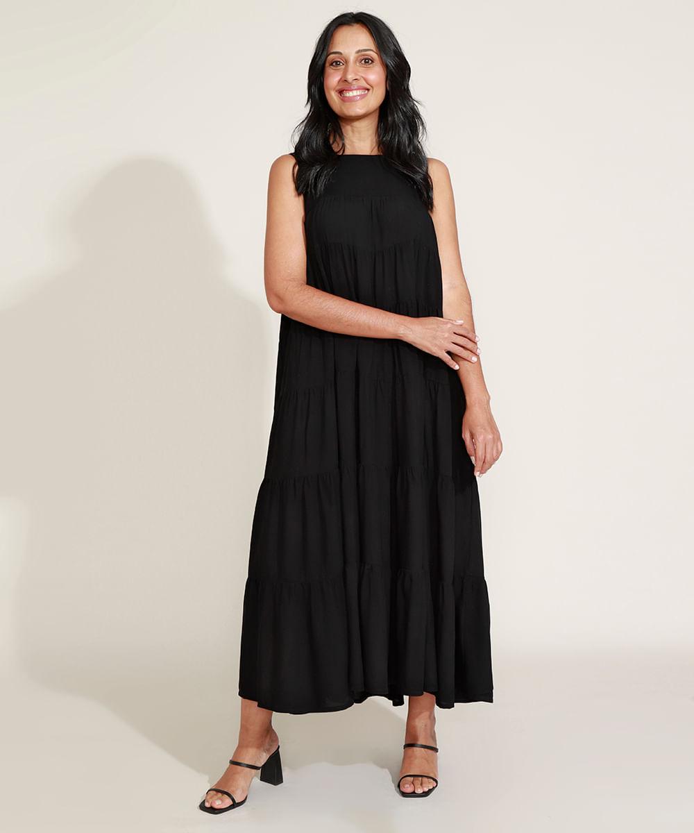 Vestido Feminino Mindset Longo Amplo com Recortes Sem Manga Preto