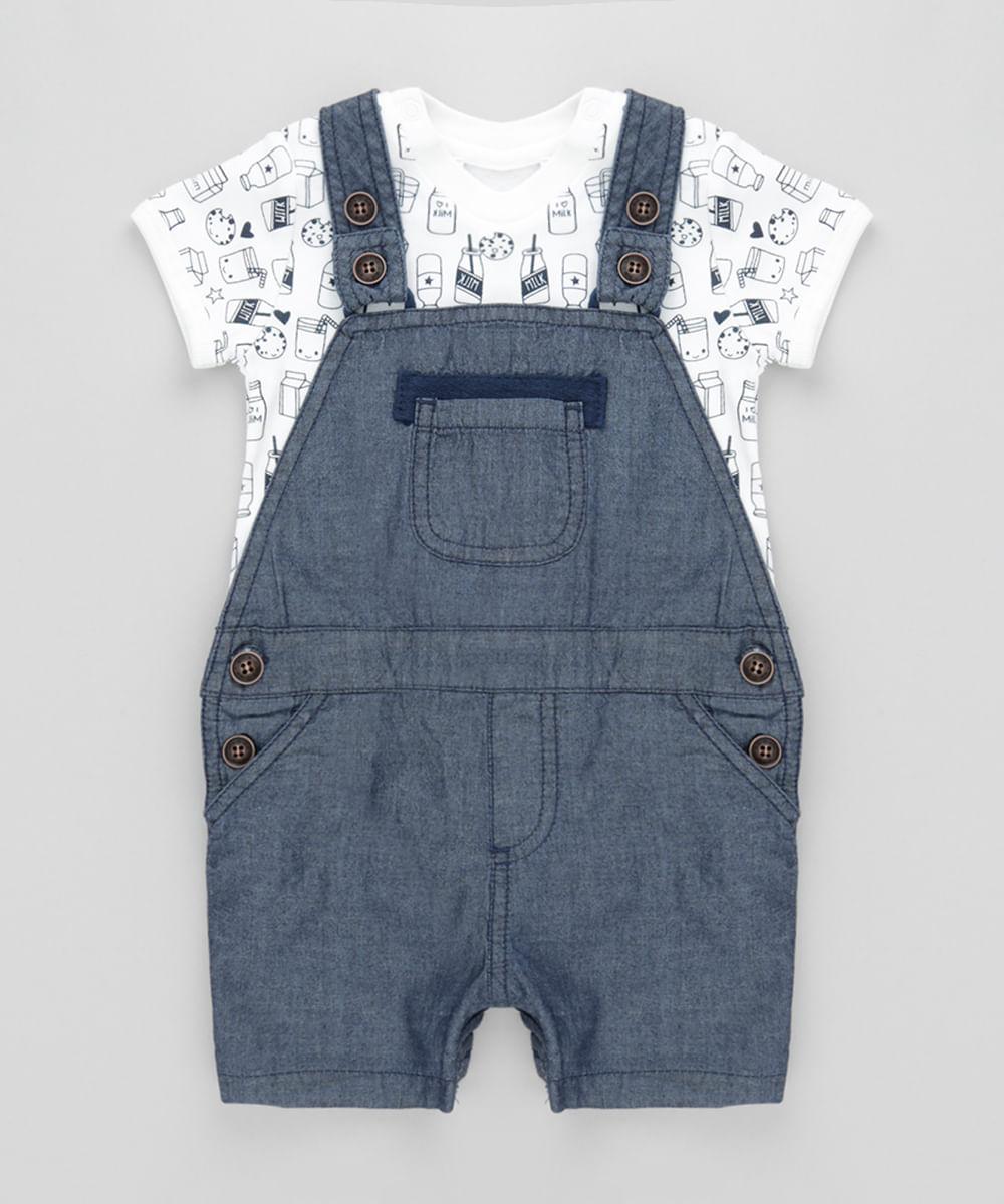 Conjunto de Macacão Jeans + Body Estampado Off White - cea bf967325214