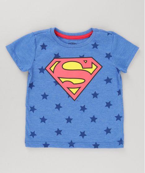 59896376de Camiseta Super Homem com Estampa de Estrelas Azul - cea