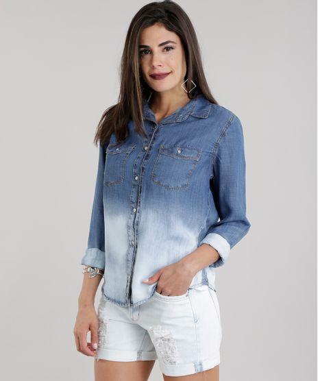 ad9ff311e8 Camisa-Jeans-com-Degrade-Azul-Escuro-8713680-Azul Escuro 1