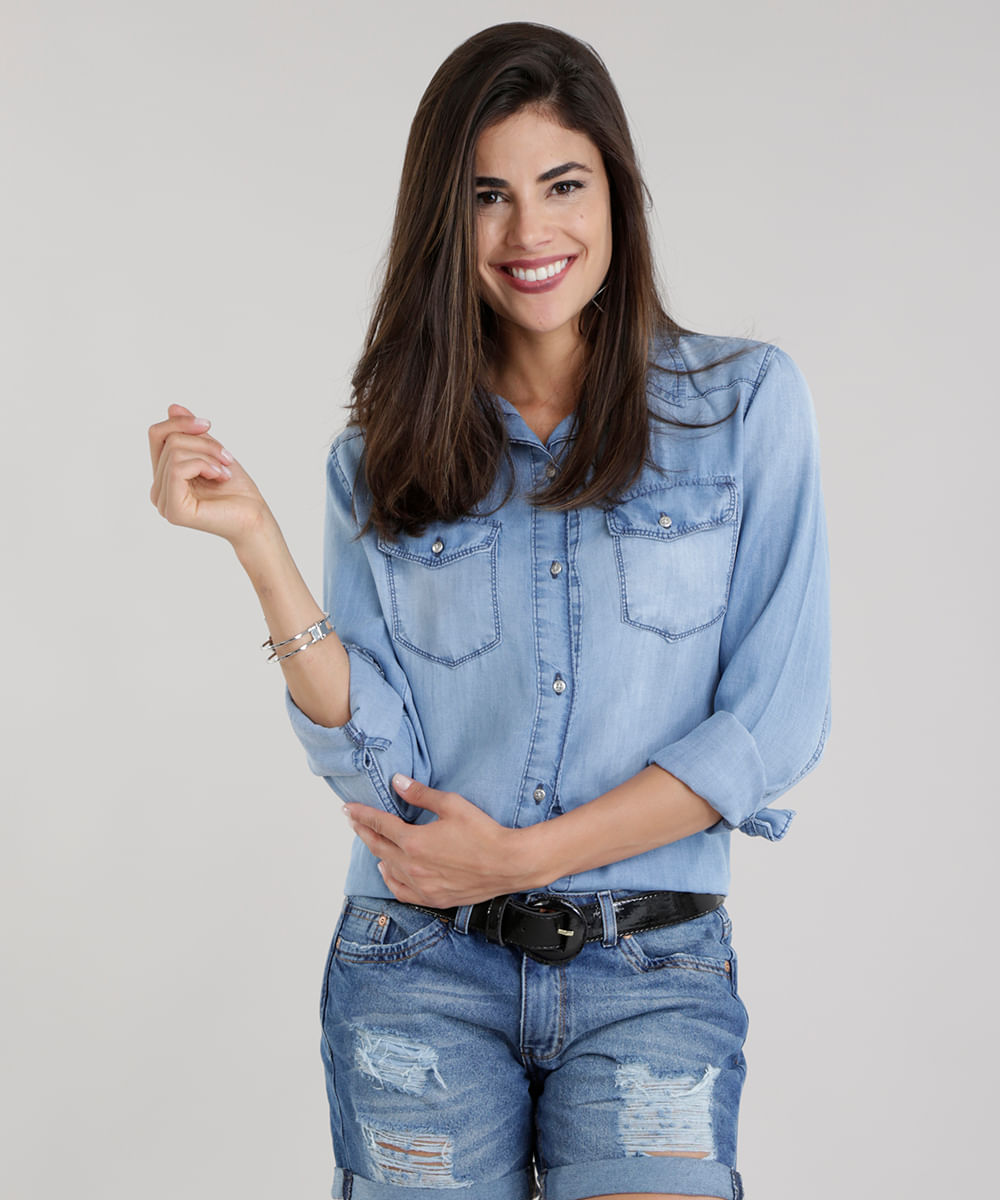 296701201d7368 Camisa Jeans Azul Claro - ceacollections