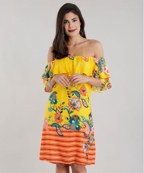 8eb53bd53 Vestido Ombro a Ombro Estampado Floral com Babado Amarelo - cea