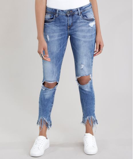 4ff31a612 Calca-Jeans-Cigarrete-Destroyed-Azul-Medio-8711158-Azul Medio 1