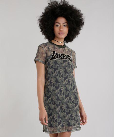 Vestido em Tule Estampado Camuflado Los Angeles Lakers Verde Militar ... 6f5ce420538