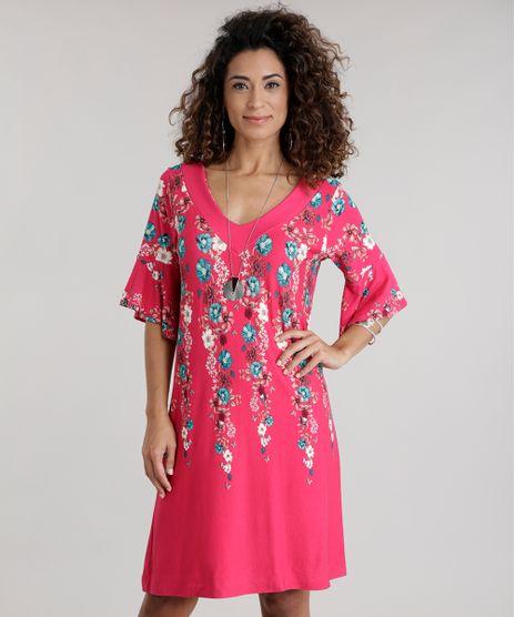 c75ee51141 Vestido-Estampado-Floral-Rosa-Escuro-8717037-Rosa Escuro 1