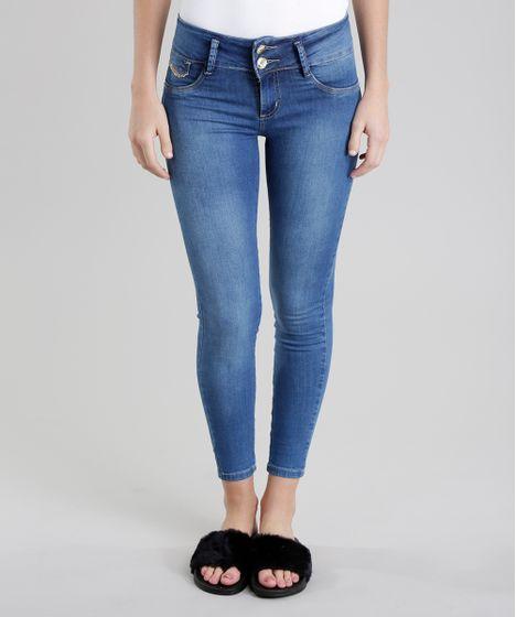 fde13f98d Calça Jeans Skinny Modela Bumbum Sawary com Strass Azul Médio - cea
